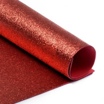 002 Фоамиран с глиттером, красный, 21*29.7см, уп.5шт, Код товара: 1058845