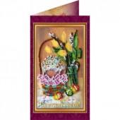 AO-009 Пасхальная открытка-9. Абрис Арт. Набор-открытка для вышивания бисером (АО-009)