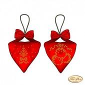 В-015 Пендибуль новогодний красный. Тэла Артис. Схема для вышивания бисером