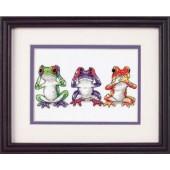 16758 Набор для вышивания крестом DIMENSIONS Трио лягушек, Код товара: 1058922