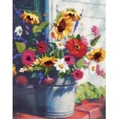 01534 Набор для вышивания гладью DIMENSIONS Ведро цветов, Код товара: 1059287